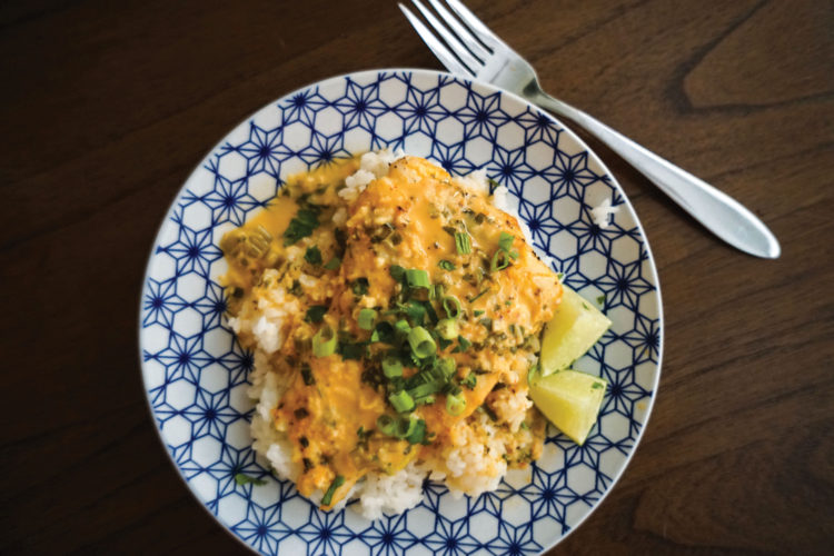 Red Snapper with Thai Coconut Curry Sauce